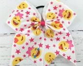 1 Cheer Bow, Emoji with Hot Pink Stars