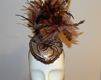 Bronze and Gun Metal Sequined Tear-Drop Fascinator with Two-Toned Feathers