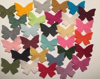 Wool Felt  Butterflies 30 - Random Colored. 3363