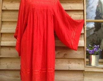 70s French VTG red cotton bell sleeves boho dress caftan