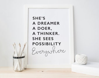 Shes a Dreamer - Poster Print