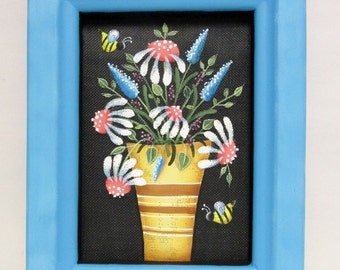 White Flowers in Gold and Brown Vase, Hand or Tole Painted on to Fiberglass Black Screen, Reclaimed  Wood Frame, Blue  Flowers, Pink Centers