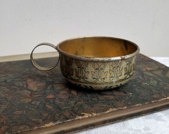 Vintage French Gold Tin Cup With Arts & Crafts Movement Design With Madonna Marked B. Delfaud Ft. Sarlat, Possible Cathedral Souvenir