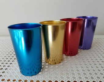 Vintage Aluminum Tumblers Set of 4 By Bascal Italy, Mid Century Drinking Glasses Cups Drinkware, Retro Barware