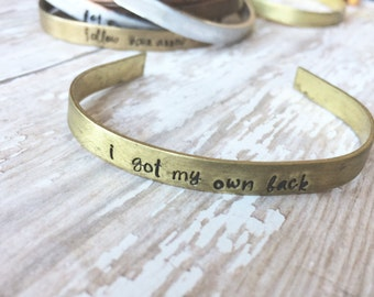 I Got My Own Back - Hand Stamped Cuff Mixed Metal  Personalized Cuff- Bangle Bracelet  Stacking and Layering By Inspired Jewelry Designs