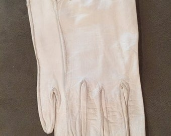 Vintage 50s White Leather Gloves, small, made in Germany