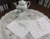 Two Vintage Hand Embroidered Floral Kitchen Tea Luncheon Towels