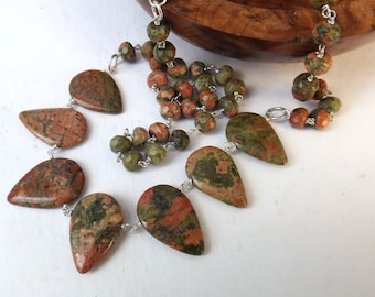 Leaf necklace, unakite leaf, unakite necklace, rustic necklace, green beaded necklace, sterling silver, briolette necklace, boho jewellery