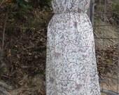 tiny butterflies maxi dress, hippy - boho - beach - spring, medium / large