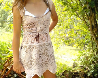 lace and silk boho mini dress, m