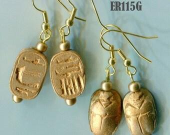 ER115 Egyptian Scarab Beetle Earrings, Vintage