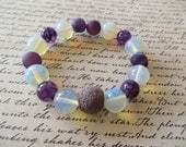 Stretchy Aromatherapy Essential Oil Diffusing Bracelet With Moonstone Agate and Purple Lava Stone Beads