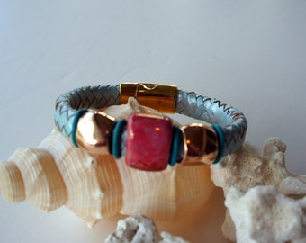 braided Blue Leather with Rose Gold Bracelet