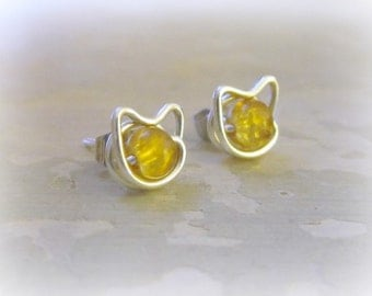 Yellow Cat Studs, Tiny Cat Earrings, Golden Cat Studs, Amber Glass Posts, Kitty Cat Earrings, Small Cat Earrings, Sterling Silver Stud