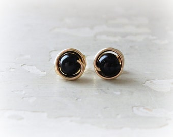 Onyx Stud Earrings, Gold Post Earrings, Black Post Earrings, Black Stud Earrings, Small Stud Earrings, Gemstone Earrings, Gold Stud Earrings