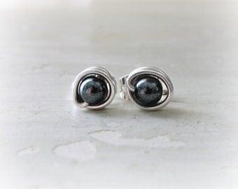 Hematite Stud Earrings, Sterling Studs, Black Post Earrings, Black Stud Earrings, Tiny Stud Earrings, Hematite Posts, Wire Wrap Studs