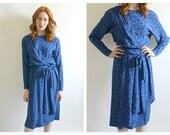 70s Blue Guy Laroche Silk Dress- 6, Secretary Chic Dress, DESIGNER Easywear Vintage, Black and Blue Polka Dot, Long Sleeve, 36, French