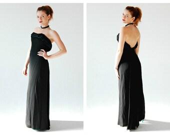 1950s Black Strapless Gown- Green Bead, 27 Waist, Holiday Dress, Ruffle, 4, Pinup Bombshell Hourglass Long Dress,