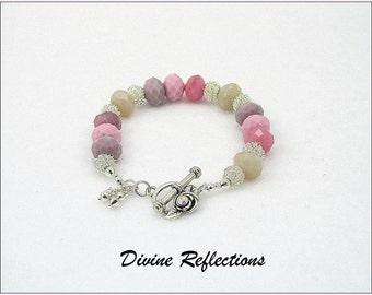 Shades of Pink Chunky Bracelet, Pink, Cream Lavender Chunky Bracelet,