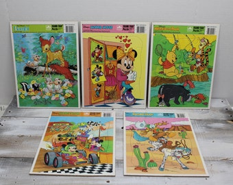 Lot of 5 Disney Frame - Tray Puzzles, Mickey Mouse, Bambi, Minnie Mouse, Donald Duck, Winnie the Pooh