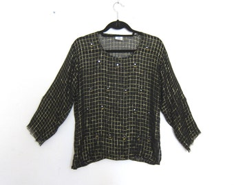80s Vintage Hippy Bohemian Indian Gauze Black and Gold Sheer Long Sleeve Blouse with Mirror Bells Ladies Size M