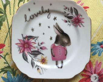 Shy Bunny Stars and Floral Vintage Illustrated Plate