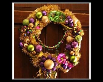 Mardi Gras Gold, Purple, Green Holiday Wreath - Fat Tuesday Door Decoration