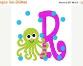 SALE INSTANT DOWNLOAD Octopus Summer Machine Embroidery Monogram Font Design Set