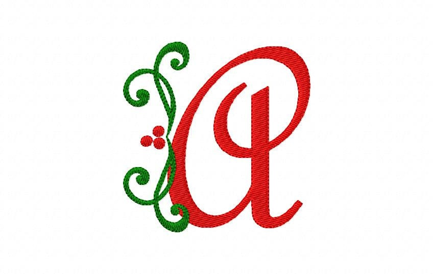 Holly with berries christmas machine embroidery monogram font