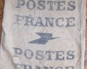 Vintage French Heavy Linen La Poste Post Office Sack, Postal Sack from France in excellent condition (4249b)