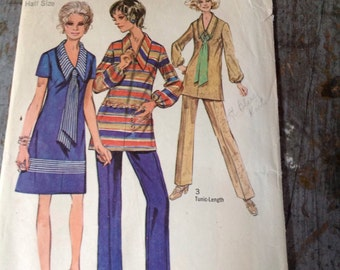 Vintage Simplicity Sewing Pattern 9035 Dress Tunic Scarf Pants Size 12 1/2 Bust 35 Waist 28