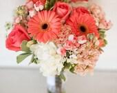 New Custom Artificial Rustic Coral Reef Wedding Bouquet Set.
