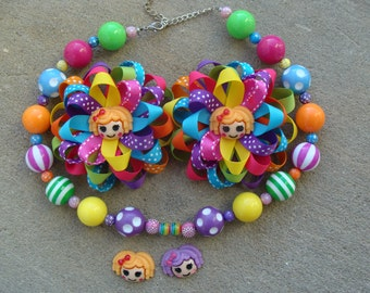 Lalaloopsy Hair Bow Loopy Flower Hair Bow Pigtails hair bows and chunky beads necklace