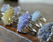 XMAS IN JULY Galaxy  /// Double Banded Amethyst Cluster Silver Electroformed Ring /// Lux Divine