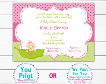 Pea in a pod Baby shower invitation -  sweet pea pink and green baby girl shower invitation --  you print or I print
