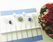 Sewing Pins Blue Large Millefiori and Genuine Lapis