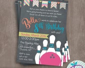 Bowling Party Invitation, Bowling Birthday Party Printable Invite