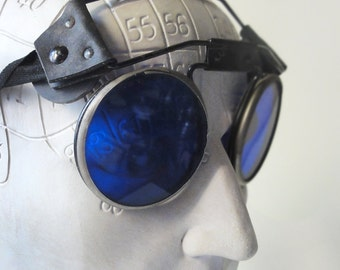 Vintage Welding Glasses Goggles Blue Steampunk