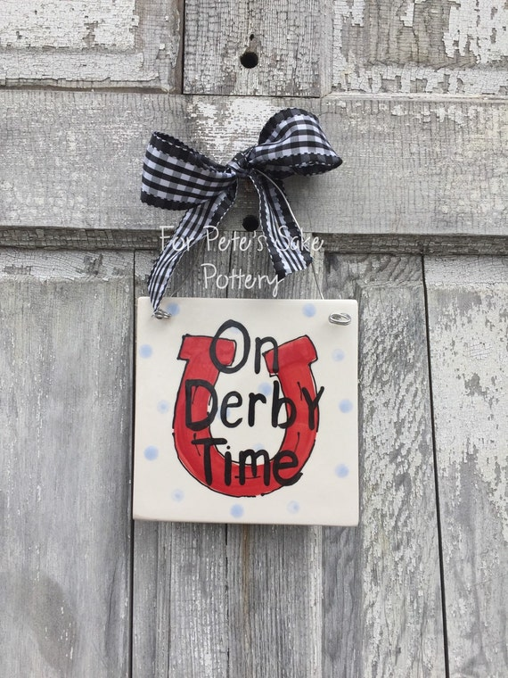 tile trivet derby fever for petes sake pottery