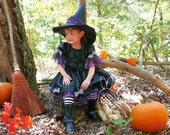 Toddler-Girls Witch Halloween Costume-Pageant Dress, Black Taffeta and Purple Spider Web Petti, Hat and Tights Included, Size 12 month - 8