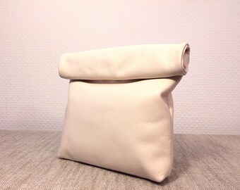 Cream Genuine Soft Leather Clutch