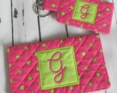 Ready to Ship //  Pink and Green Dot Quilted Checkbook Cover and Pocket Key Fob Set - Initial G