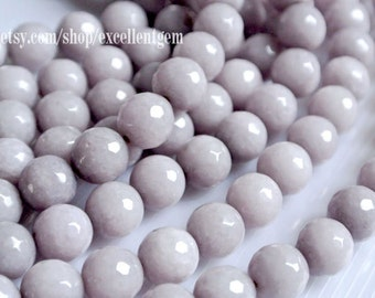 37 pcs Faceted Round beads, Full strand Light Gray color jade, 10mm Round beads, Mint color beads.