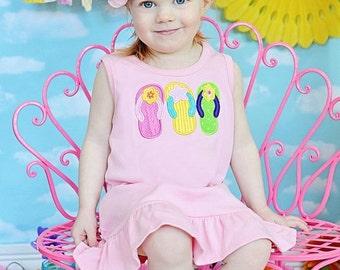SALE, Beach Dress, Beach Outfit, Flip Flop Dress, Appliqued Dress, Monogrammed Dress, Toddler Dress, Summer Dress, Sundress, Baby Girl