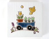 "Yellow Bird and Blue Wagon handmade ceramic wall hanging, tile or coaster 4""x4"""