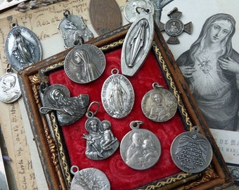 Antique Religious Medal Lot, Jewelry Destash, offered by RusticGypsyCreations