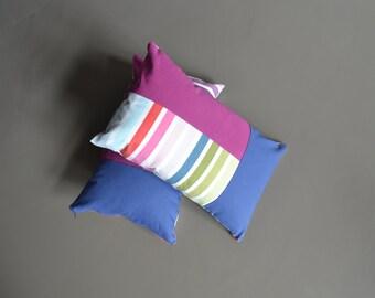 modern home blue magenta and striped lumbar pillows - set of 2x - blue magenta 12x20 lumbar pillows - modern housewarming gift - modern home