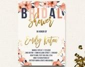Bridal Shower Invitation Boho Chic Invitation Floral Gold Navy Coral