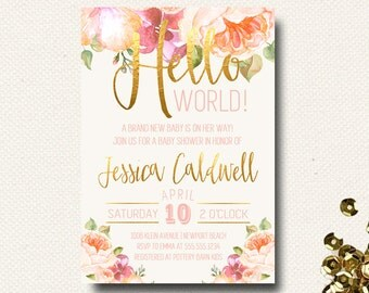 Baby Shower Invitation Floral Hello World, Gold