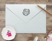 Return Address Stamp / Self Inking  Wedding Invitation Stamp, Save the Date Stamp, Monogram Wreath Crest Stamp, Crest Wedding Stamp